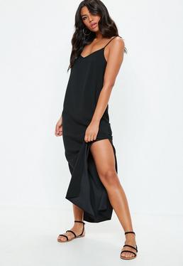 Vestido largo de tirantes finos con espalda caída en negro