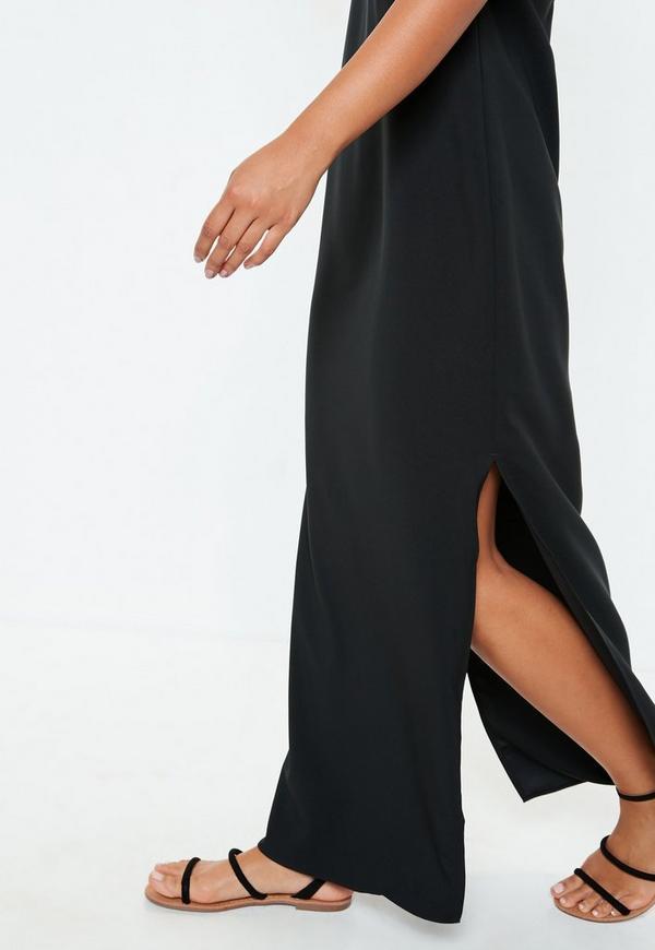 robe longue noire fendue dos chancr missguided. Black Bedroom Furniture Sets. Home Design Ideas