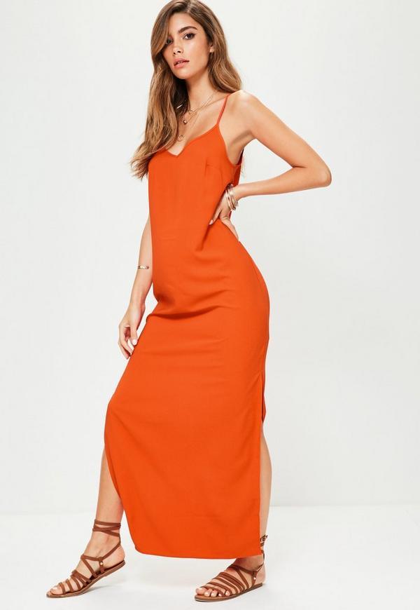 Vestidos largos de fiesta color naranja