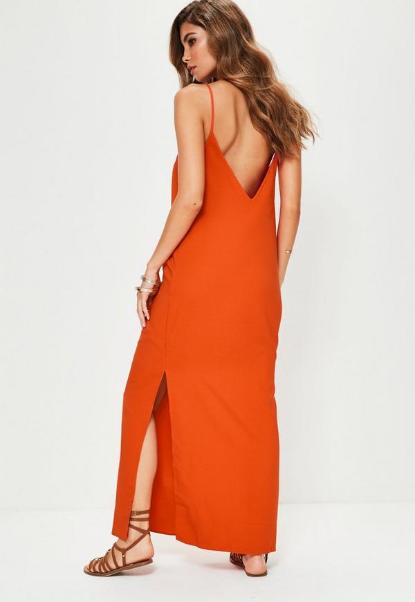 robe longue orange dos chancr missguided. Black Bedroom Furniture Sets. Home Design Ideas