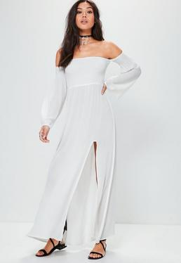 White Shirring Top Split Maxi Dress
