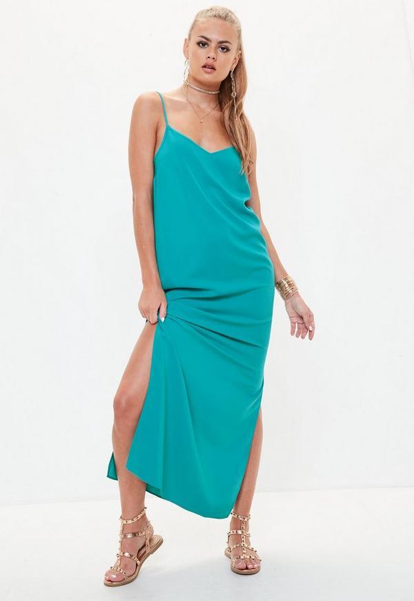 Blue Cami Low Back Maxi Dress