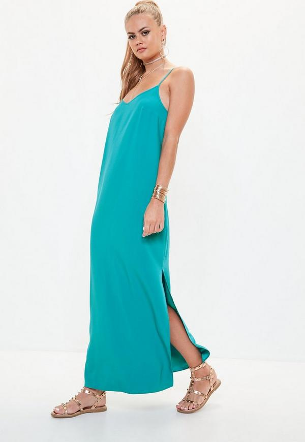 robe longue bleue fendue dos chancr missguided. Black Bedroom Furniture Sets. Home Design Ideas