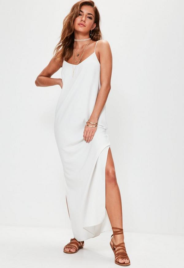 White Cami Low Back Maxi Dress