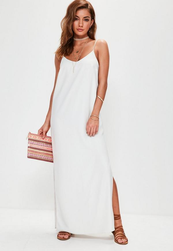 White Cami Low Back Maxi Dress | Missguided