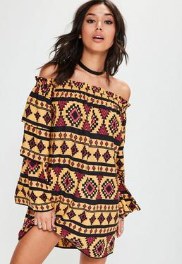 Yellow Cuba Aztec Print Layer Sleeve Bardot Shift Dress