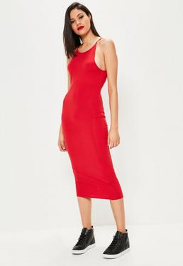 Czerwona sukienka midi na ramiączkach