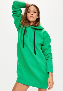 Green Eyelet Fleeceback Hooded Sweater Dress