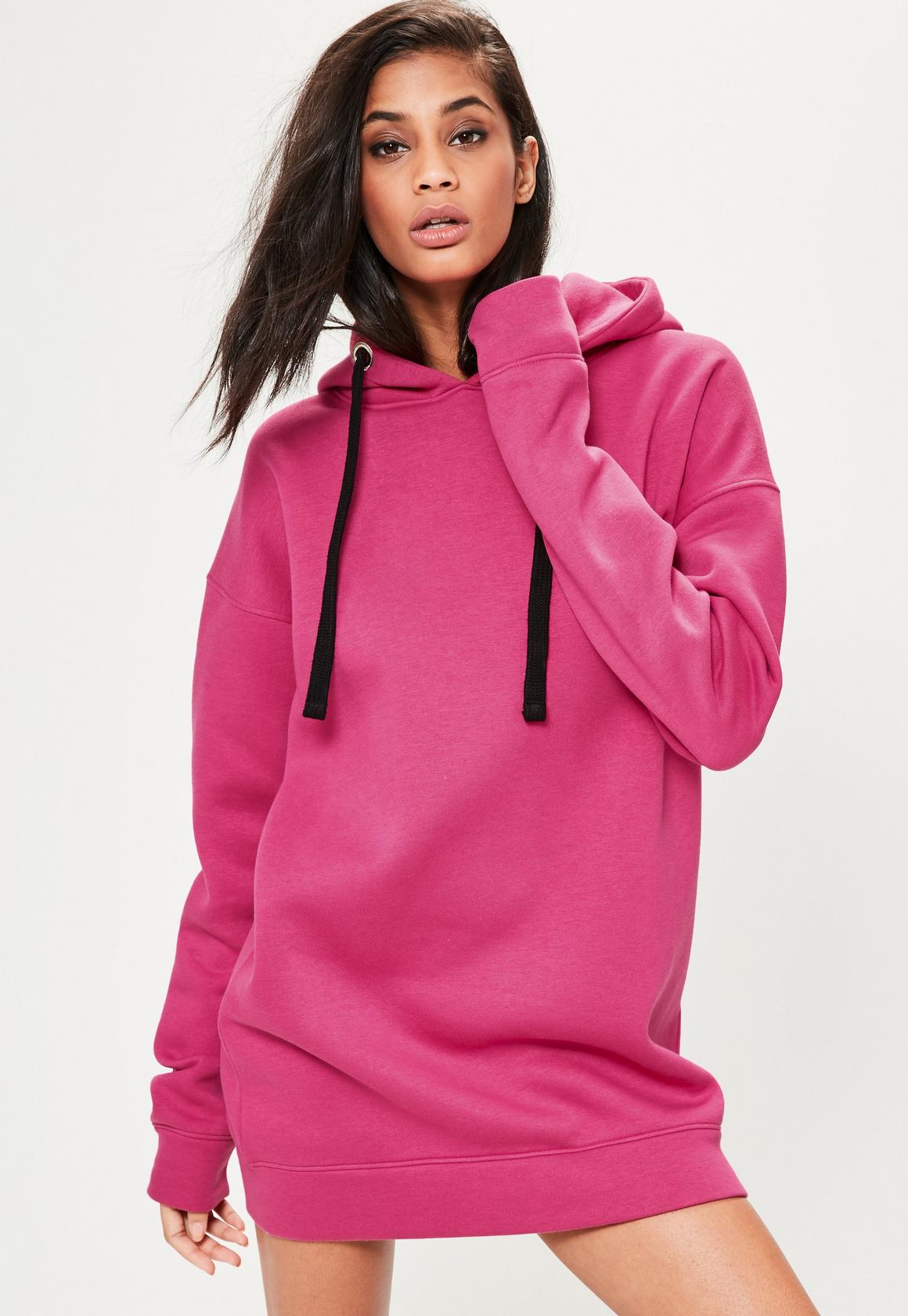 Pink Eyelet Fleeceback Hooded Sweater Dress | Missguided