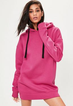 Pink Eyelet Fleeceback Hooded Sweater Dress