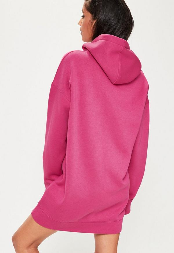 sweatshirt kleid mit kapuze in pink missguided. Black Bedroom Furniture Sets. Home Design Ideas