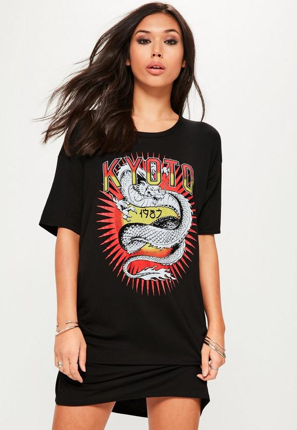 Black Oversized Graphic Print Kyoto Tshirt Dress