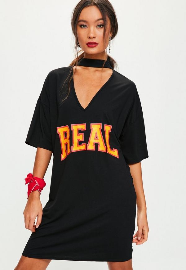 Black Slogan Graphic Print Choker Neck T-Shirt Dress