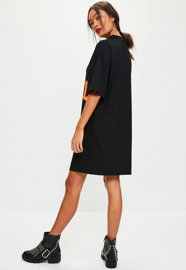 black slogan graphic print choker neck t shirt dress missguided. Black Bedroom Furniture Sets. Home Design Ideas