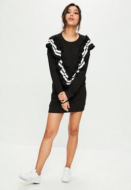 Czarna swetrowa sukienka z falbanką