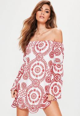 White Broderie Anglais Trim Bardot Dress