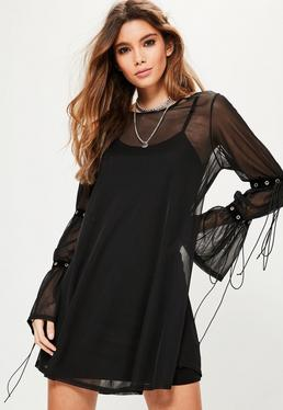 Black Mesh Eyelet Gathered Tie Sleeve Dress