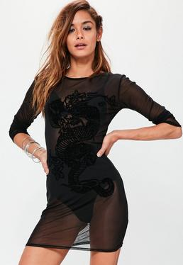 Black Mesh Dragon Burnout Bodycon Dress