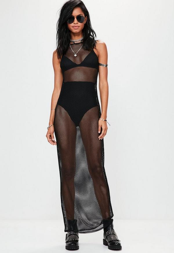 Black Fishnet Racer Neck Maxi Dress