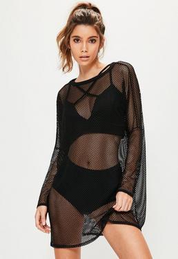 Black Oversized Fishnet Hooded Dress