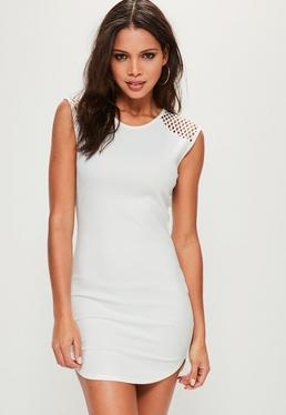 White Fishnet Short Sleeve Bodycon Dress