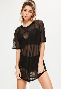 Black Oversized Mesh Drawstring Dress