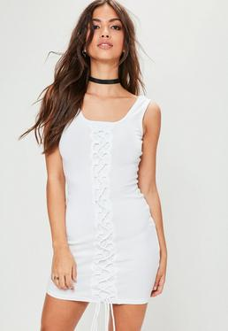 White Sleeveless Lace Up Ribbed Detail Dress
