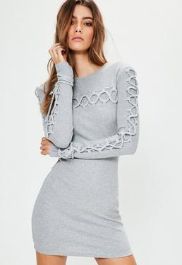Grey Lace Up Detail Ribbed Bodycon Sweater Dress