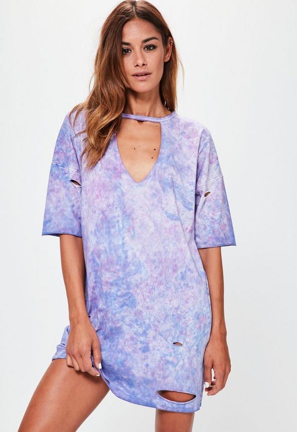 Purple Washed Choker Neck Plunge T-shirt Dress