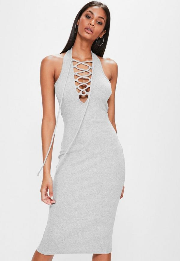 Grey Rib Halterneck Lace Up Detail Dress