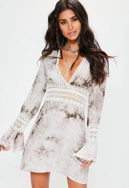 White Crochet Detail Flared Sleeve Swing Dress