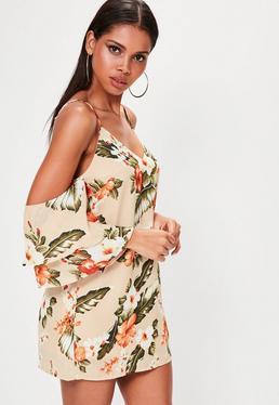 Orange Floral Print Cold Shoulder Dress