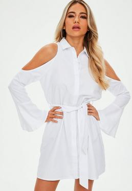 White Soft Touch Cold Shoulder Tie Shirt Dress