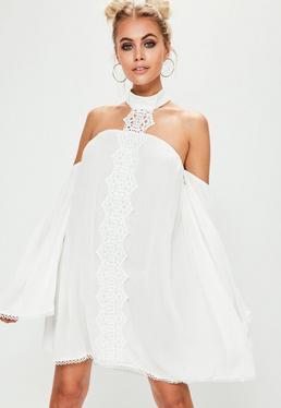 White Lace Choker Neck Bardot Shift Dress