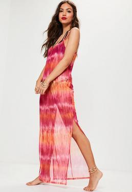 Vestido largo de transparencias con efecto tie dye en rosa