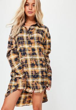 Orange Bleached Check Oversized Shirt Dress