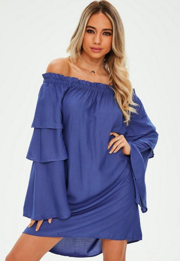 Blue Layered Sleeve Bardot Shift Dress