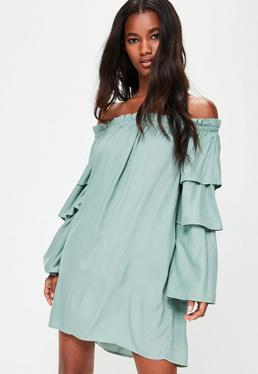 Green Layered Sleeve Bardot Shift Dress