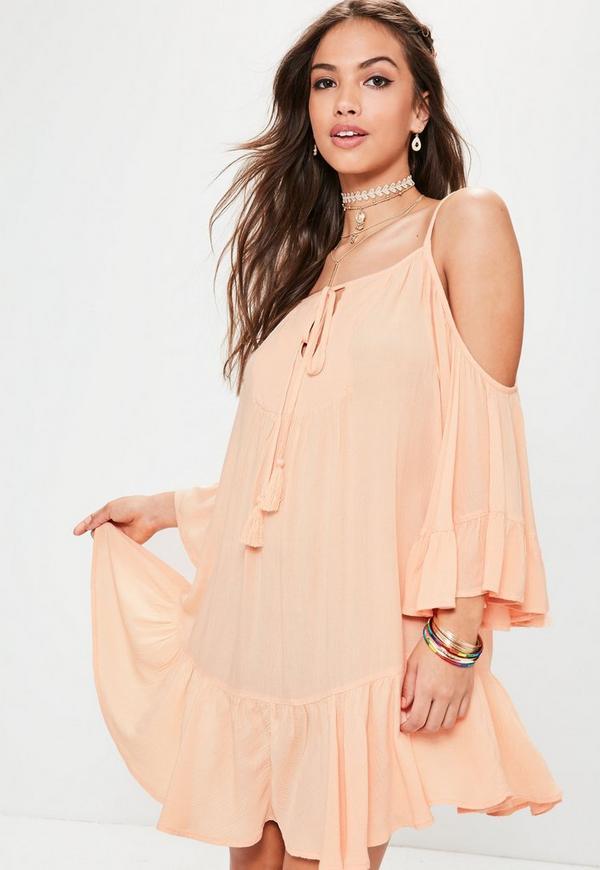 Orange Cheesecloth Cold Shoulder Tassel Dress