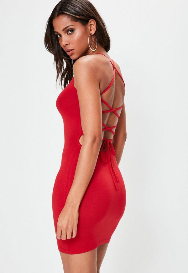 Red Strappy Back Bodycon Dress