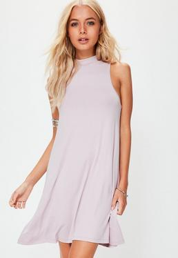 Pink Racer Neck Sleeveless Swing Dress