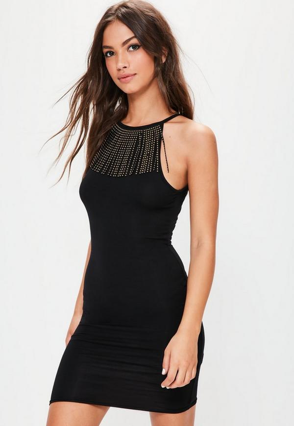 Black Fringe Trim Bodycon Dress