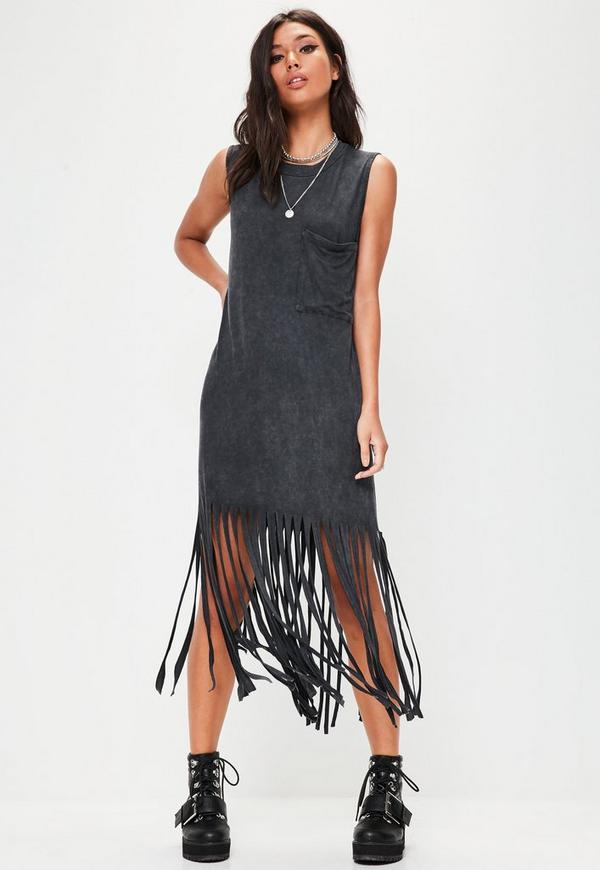 Black Washed Out Fringe Maxi Dress