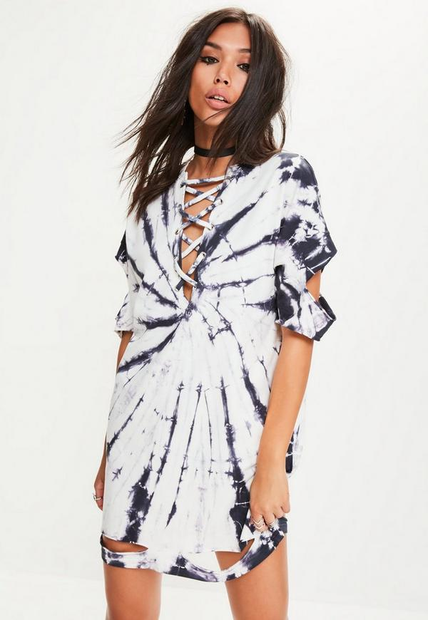 White Tie Dye Lace Up Detail T-shirt Dress