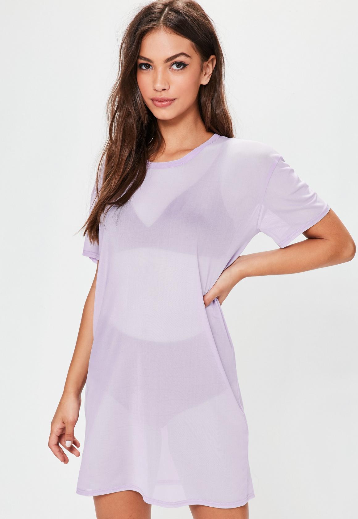 Purple Mesh T-Shirt Dress | Missguided