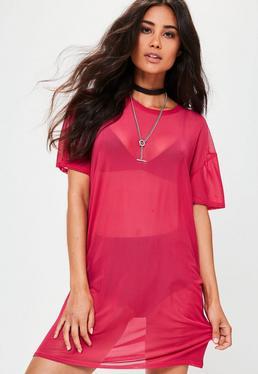 Vestido camiseta con transparencias en rosa