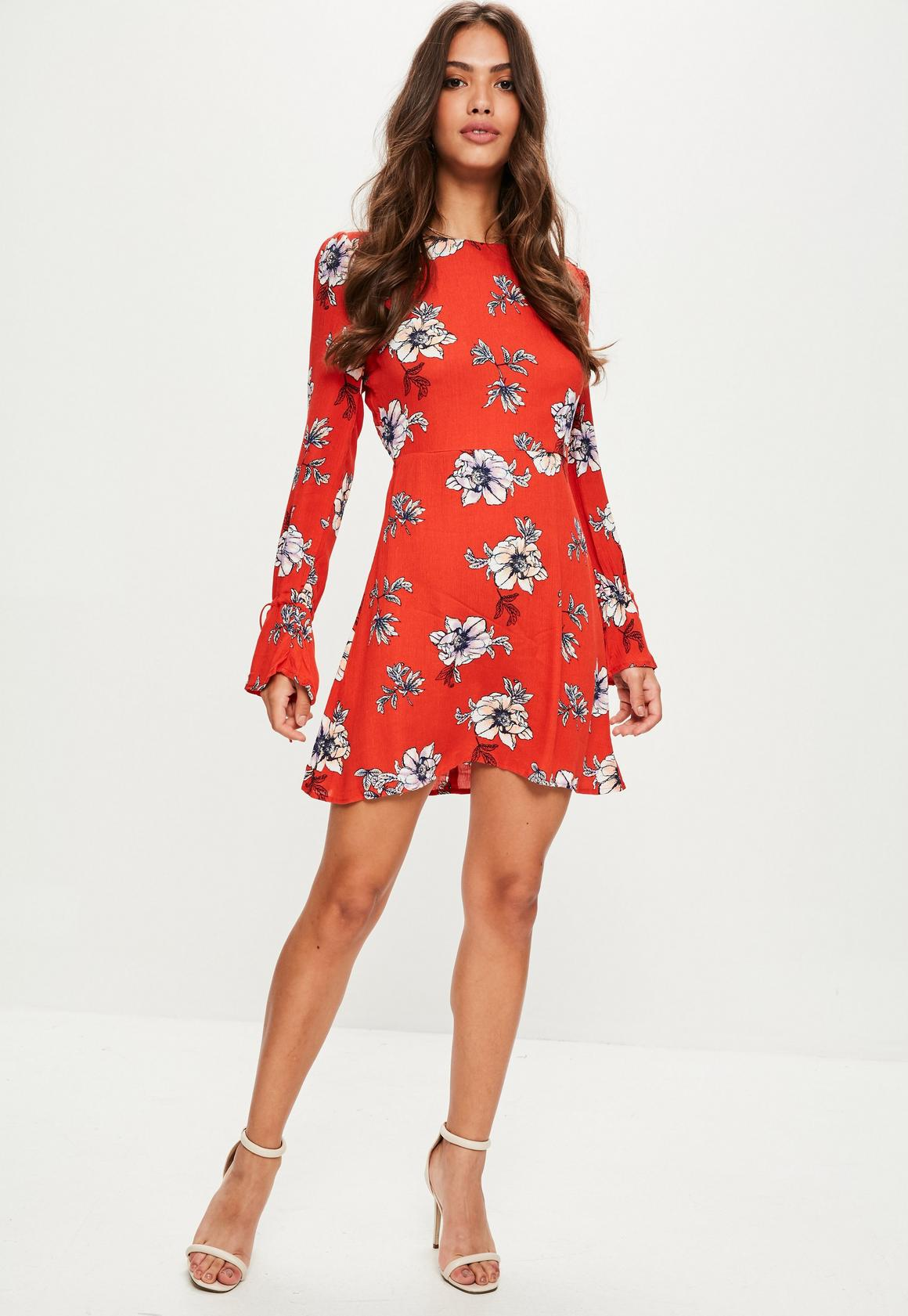 fd0f42381ab9 Missguided - Red Floral Print long sleeve open back skater dress, Red - 2