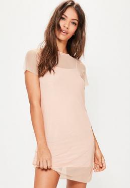 Pink Mesh Tshirt Dress
