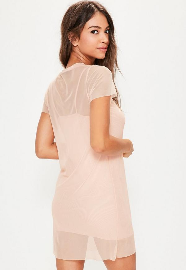 Pink Mesh Tshirt Dress | Missguided