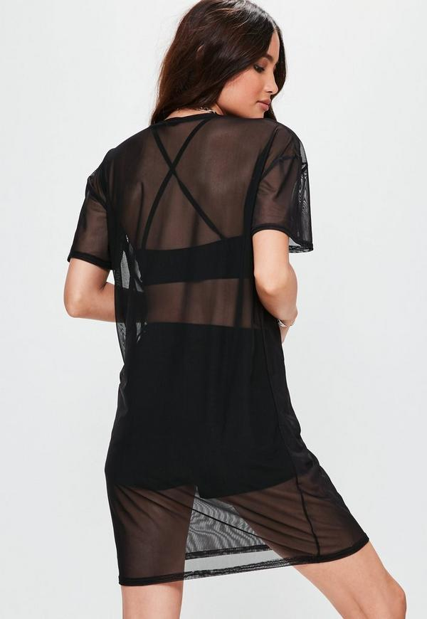 Black Mesh T-shirt Dress | Missguided